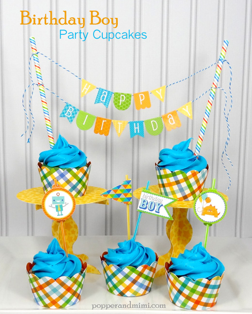 Birthday Boy Party Cupcake Display | popperandmimi.com