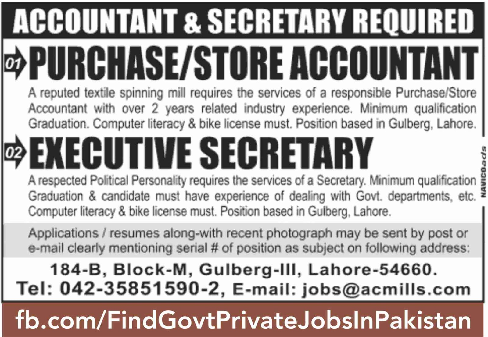 accountant job ads sunday jang