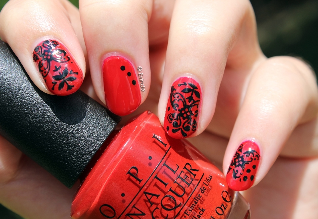 red and black lace nails
