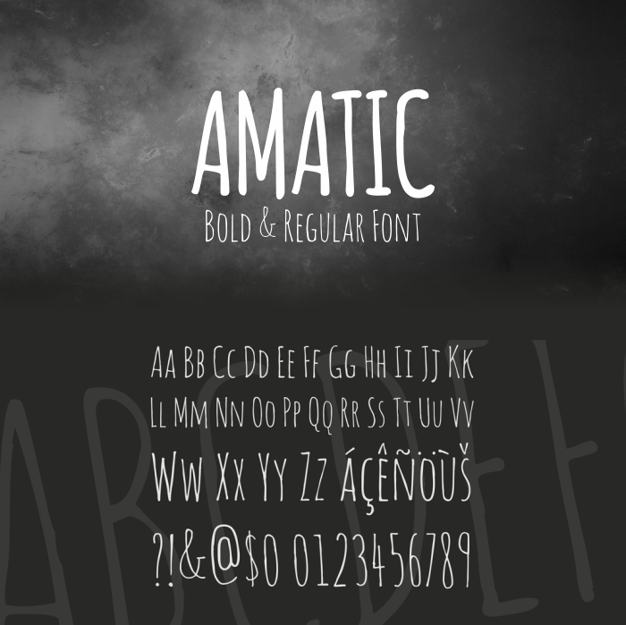 Download Font Handletter Tulisan Tangan Terbaik - Amatic free Font