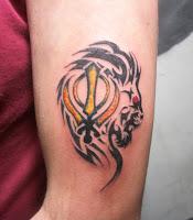 Khanda with Lion Tattoo Designs