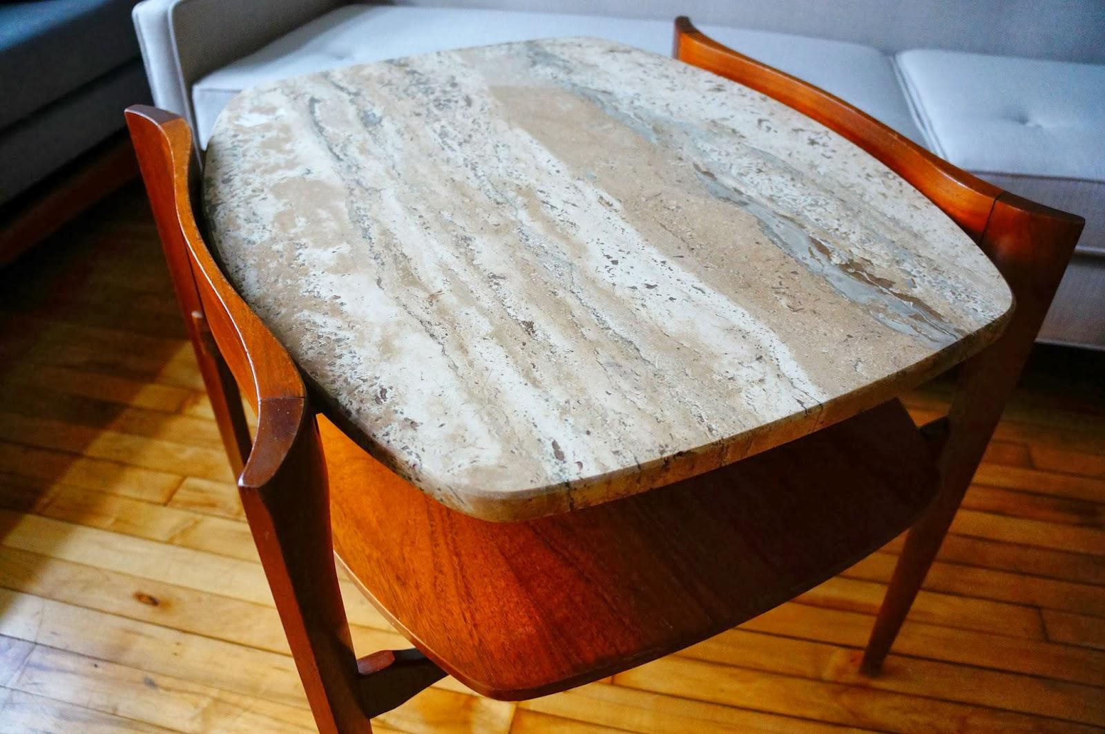 Bertha Schaefer Walnut And Travertine Side Table. Rapturous.