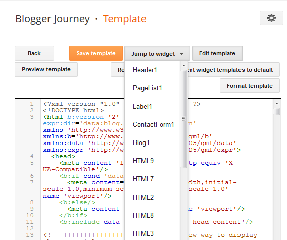 Jump to a specific widget's HTML code in Blogger template
