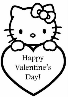 Hello Kitty Valentines Day Card Coloring Page