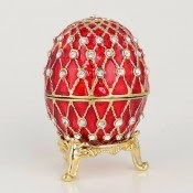 Red Faberge Egg Trinket Box on Stand