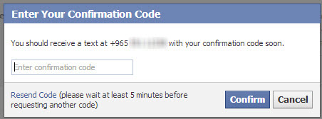 Facebook-mobile-Confirmation-code