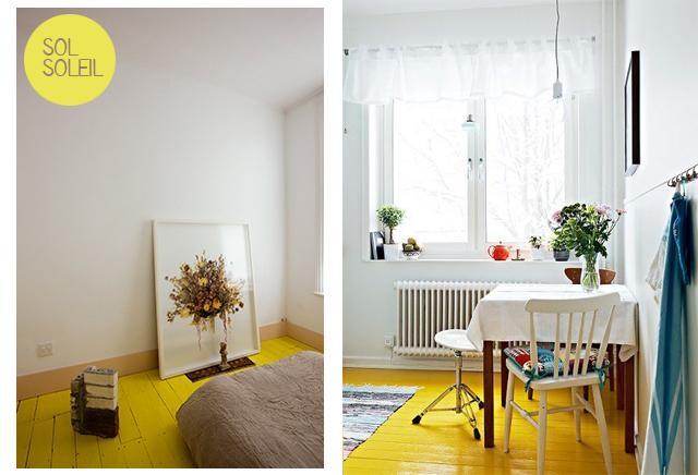 parquet peint jaune