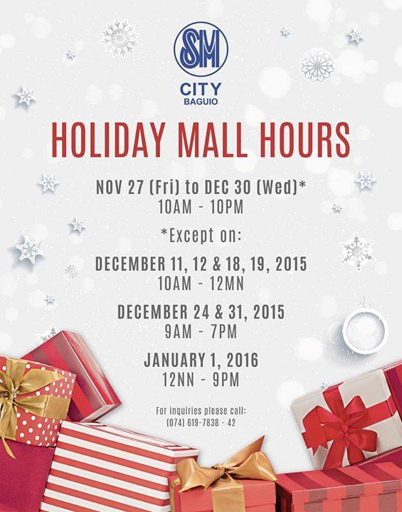 SM Supermalls officially announced their mall hours and schedules for the Christmas holidays and New Year in Metro Manila and provincial malls. Here are the schedules for SM .