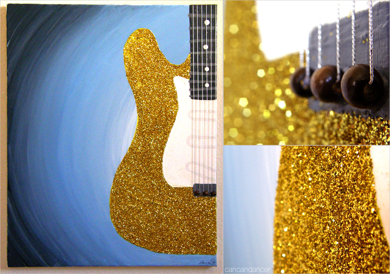 Can Can Dancer Glitter Guitar Painting
