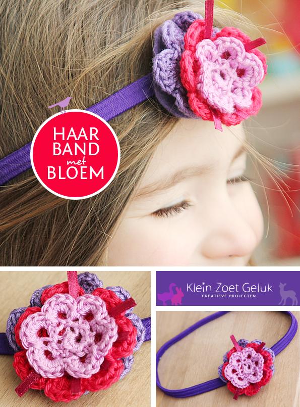 Haarband met gehaakte bloem