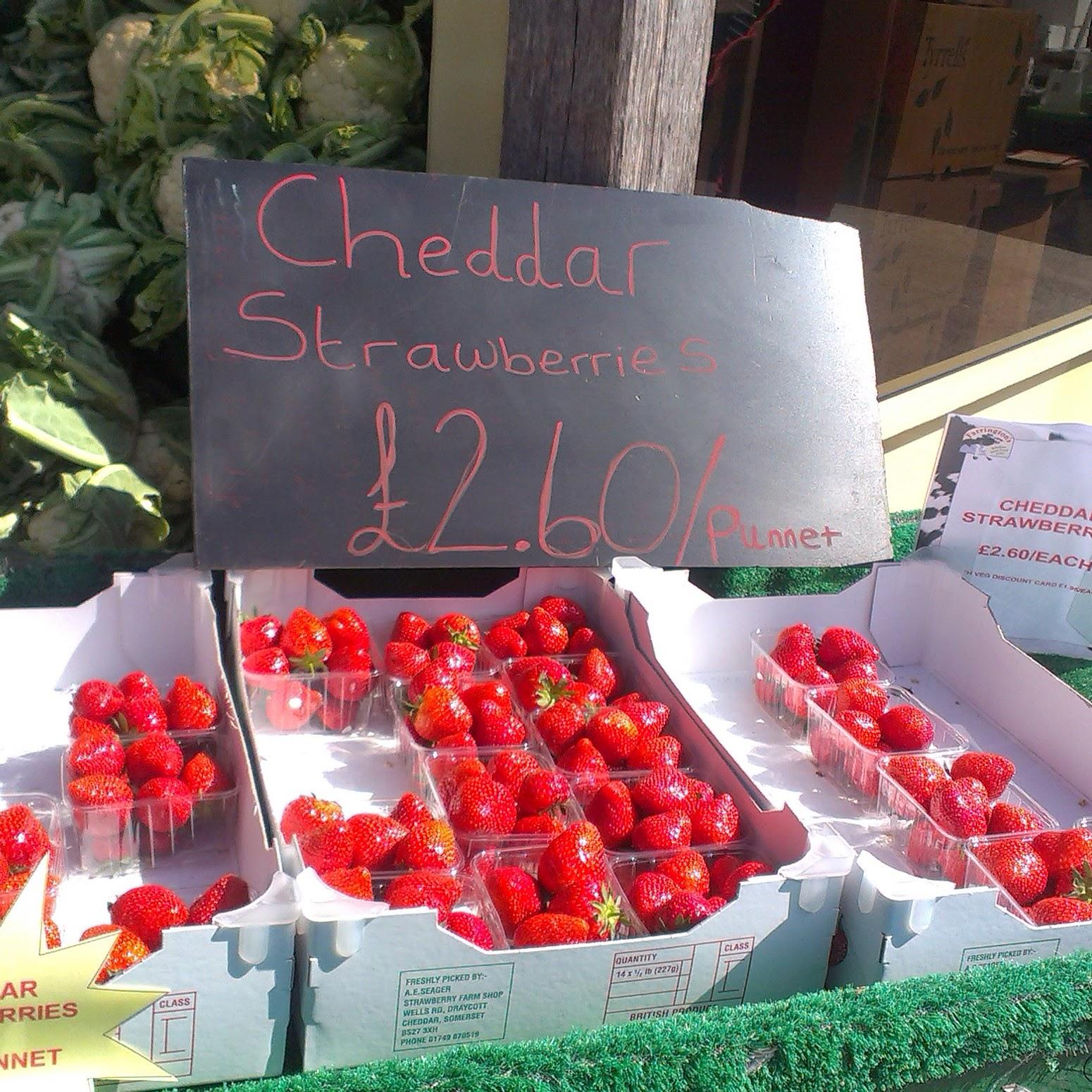 Cheddar strawberries at Farringtons Farm Shop