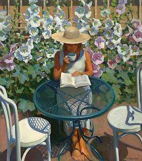 Un café entre libros y flores. Jeffrey T. Larson
