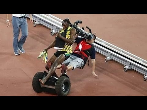 Usain Bolt, who was feeling on the top of the world  after winning the 200 metres title at World Athletic Championship, was brought crashing down -  by a Chinese camera man.