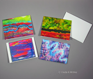 4 art quilt greeting cards