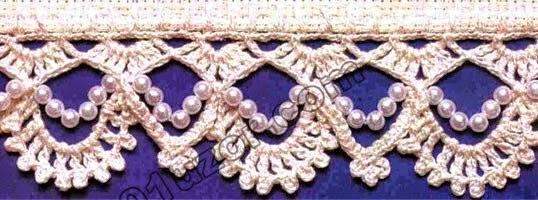 Dos puntos en forma de ondas al crochet