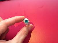 中古 K18 枠 エメラルド ダイヤモンド  リング