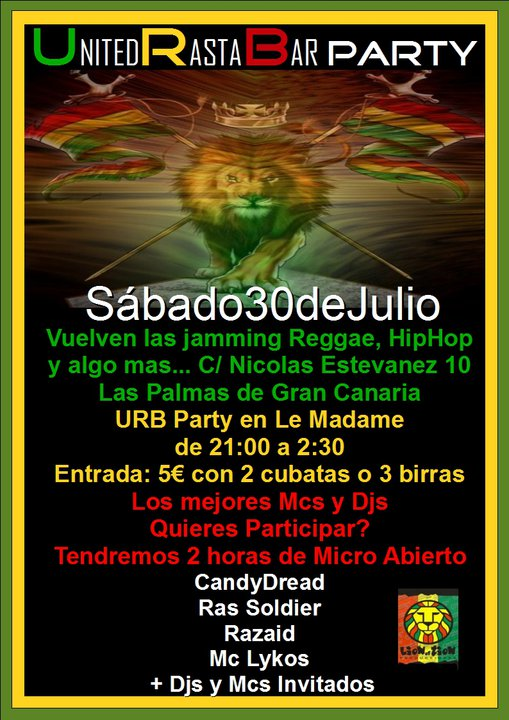 United Rasta Bar Party - 30 de Julio