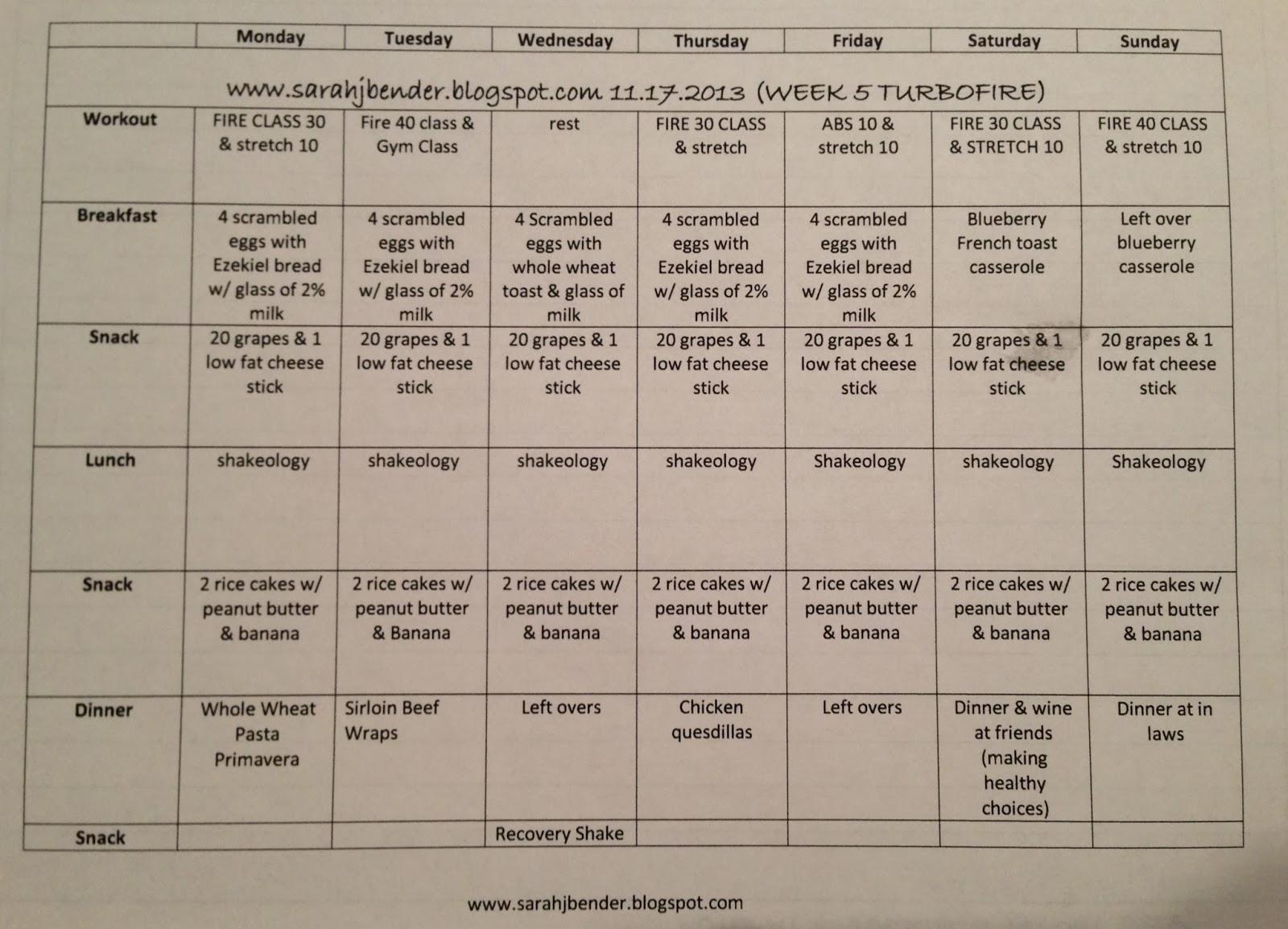 Turbo Fire Prep Schedule Week 5: turbo fire & meal plan