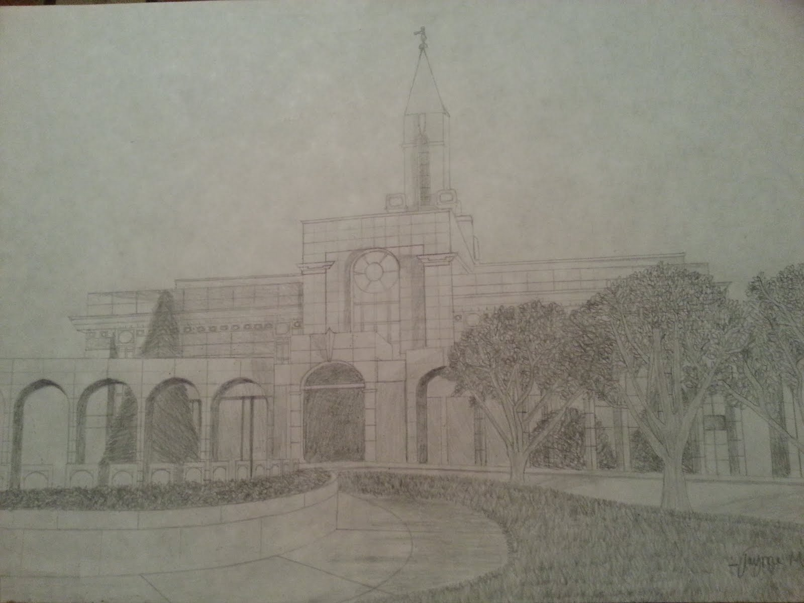 """Our"" temple..Bountiful! We were married there 1995!  Our Jayme drew this for us a few yrs ago"
