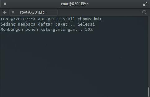 Instal MySQL dan phpMyAdmin : Instal phpMyAdmin