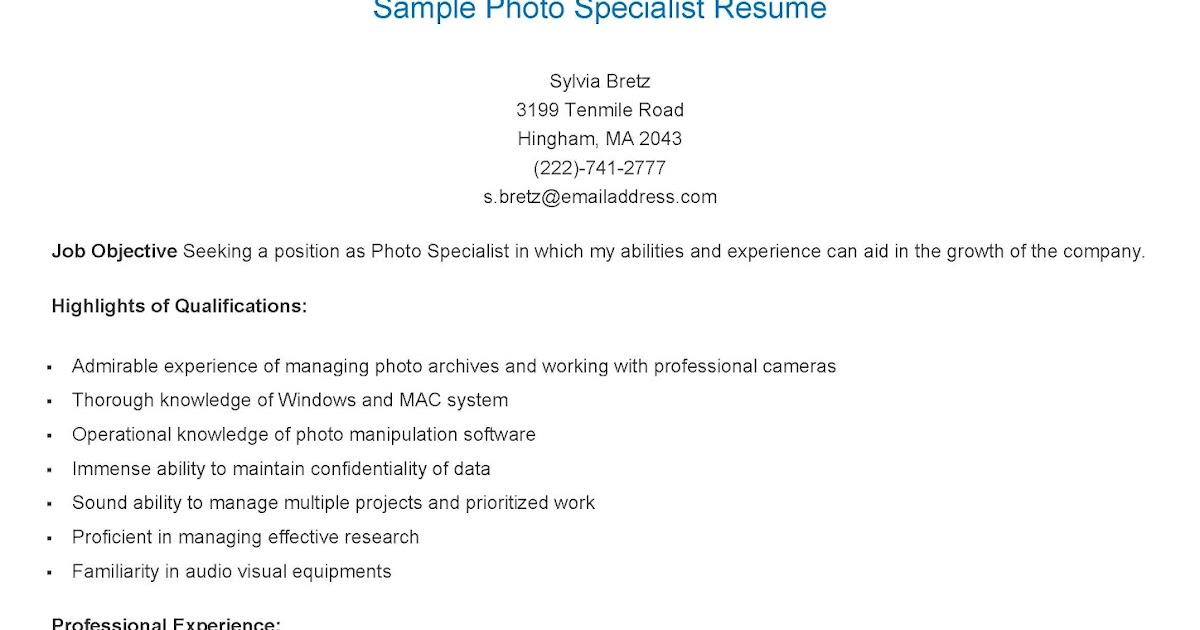 resume samples sample photo specialist resume