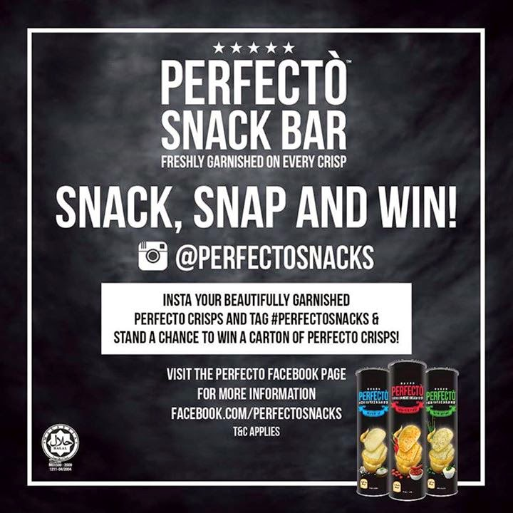 perfecto instagram contest, free potato chips, Perfecto Snack Bar, Perfecto, Perfecto Chips, natural sea salt, sour cream & chives and chilli & spice infusion, Fikcles Café, TTDI, perfecto cafe