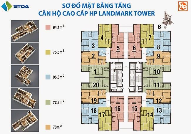 Mặt bằng căn hộ chung cư HP Landmark Tower