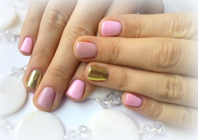 manicure hybrydowy Perfect Beauty pink glitter gold złoto brokat