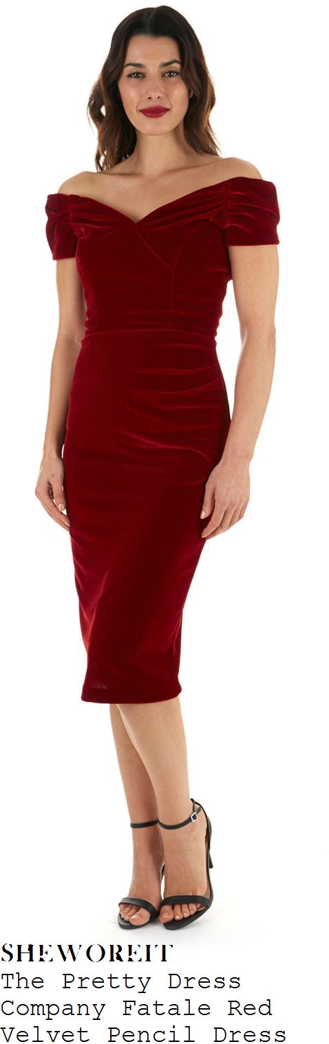kate-garraway-red-off-shoulder-gathered-bardot-neckline-velvet-pencil-dress-national-television-awards