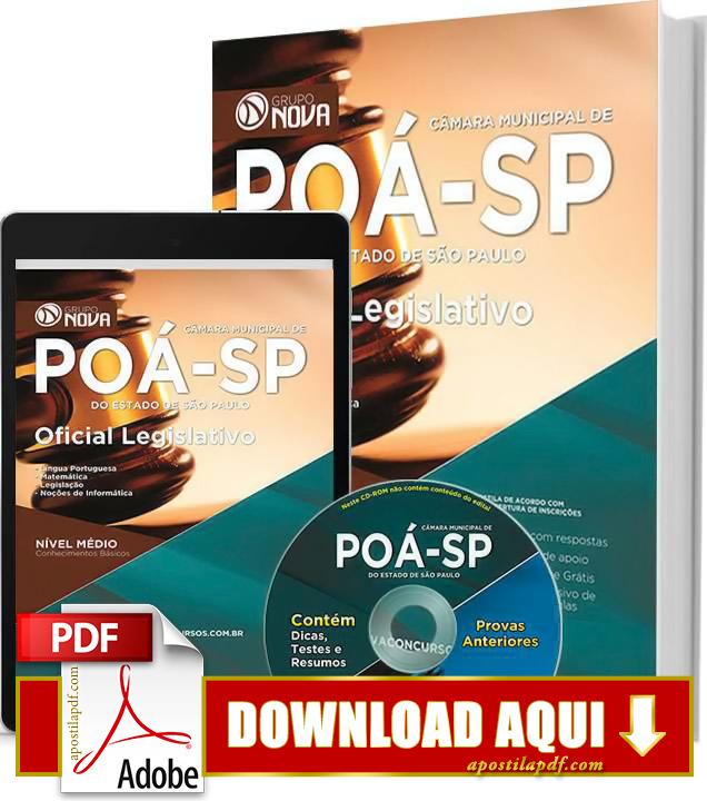 Apostila Oficial Legislativo Poá 2015 PDF Download Grátis
