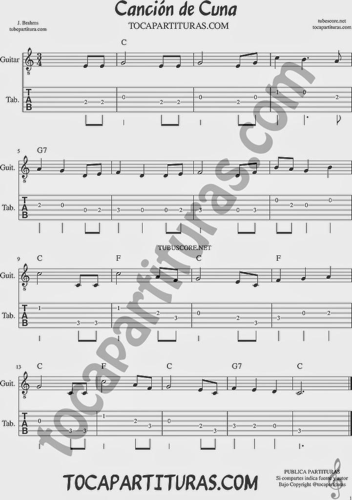 Tubepartitura Canción de Cuna de Brahms Tablatura y Punteo de Guitarra Canción de Música Clásica