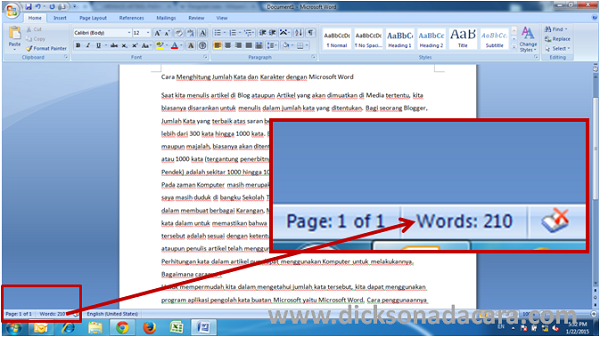 Cara Menghitung jumlah kata dengn Ms Word