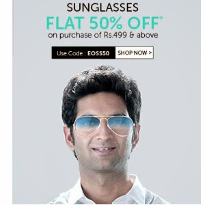Buy Sunglasses upto 79% off + 55% off from Rs. 235 from Lenskart
