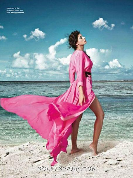 Nargis Fakhri Red Gown Hot Wallpaper Sandy Beach - (2) - Nargis Fakhri Bikini Pics from Harper Bazaar Magazine Hot Scans
