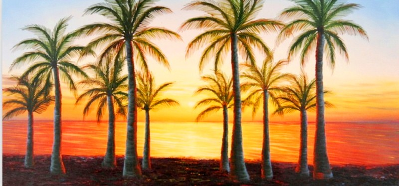 Un atardecer en la playa para colorear imagui - Cuadros de atardeceres ...