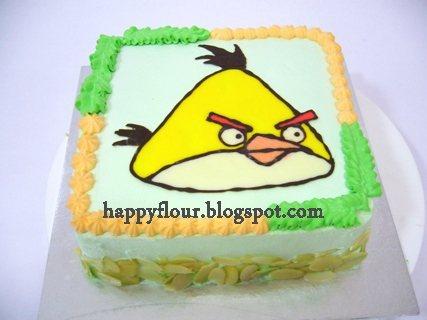 Happy Flour Yellow Angry Bird Character Birthday Cake