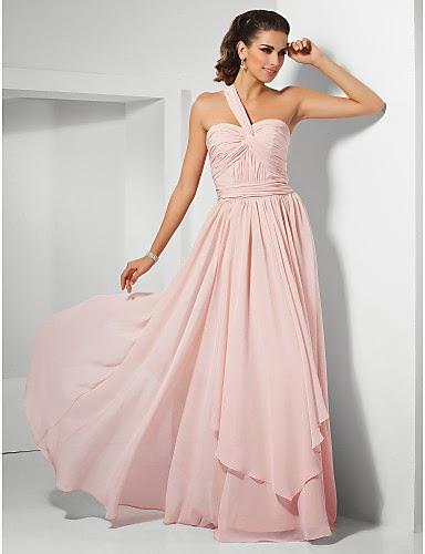 Vestido Prom Rosa de gasa un solo hombro