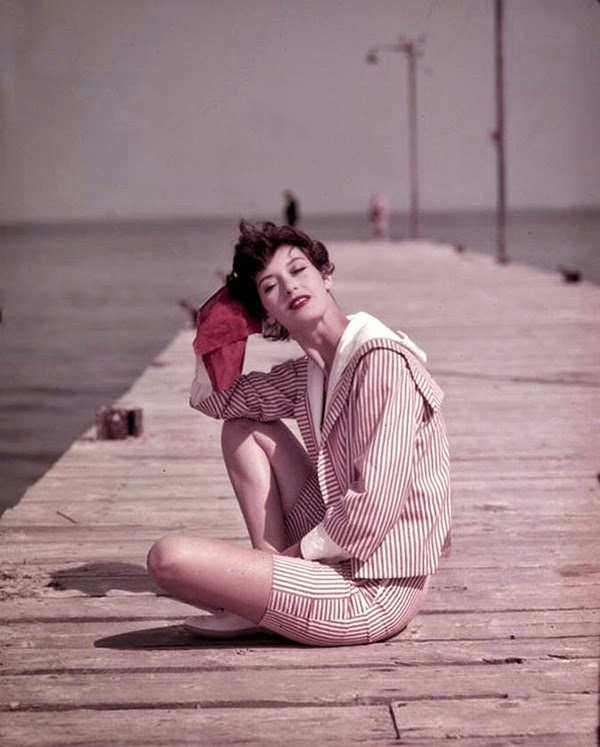 Barbara Mullen on the Boardwalk, St. Tropez, 1957. Photographed by Georges Dambier. Image via Vintage Everyday.