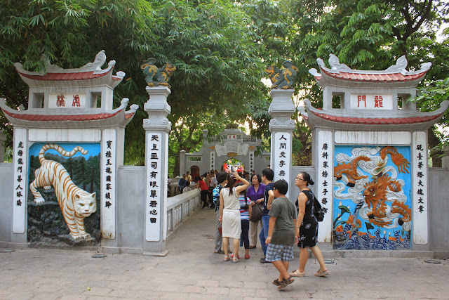 On the way heading to the second gate of The Ink-slab from the main entrance of Three-Passage Gate at Hoan Kiem Lake in Hanoi, Vietnam