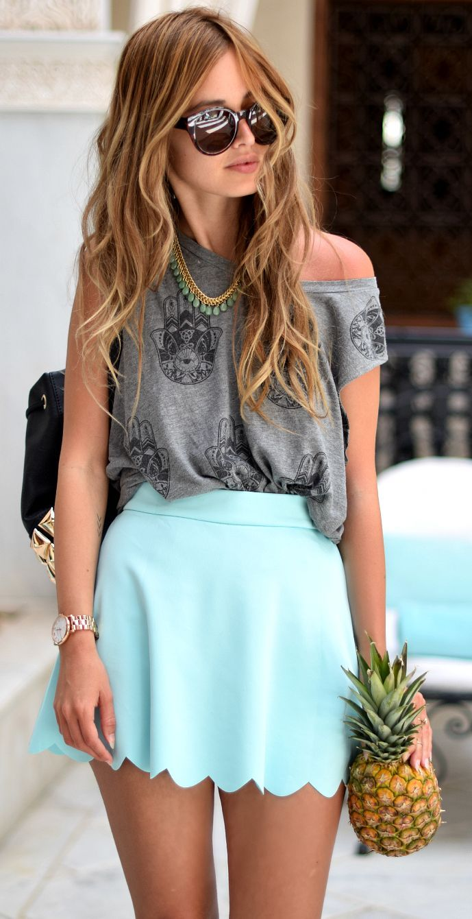 Mint Scallop Skirt