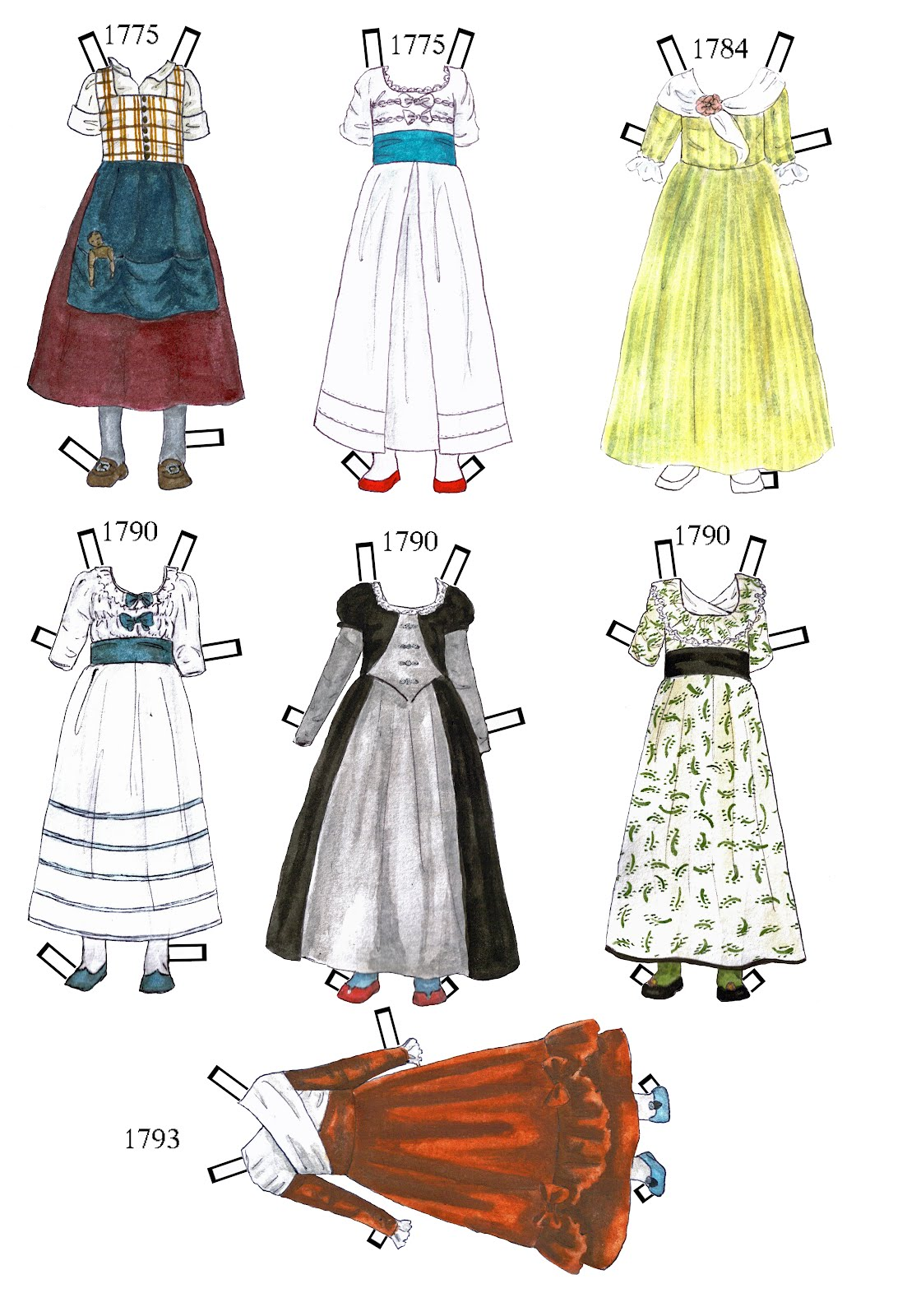 Paper Angel Designs Paper Doll Yvonne 18th Century