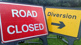 Road Closed, Diversion sign.
