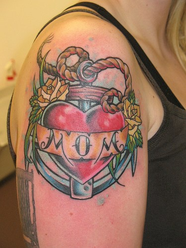 Anchor with love mom text tattoo in colour