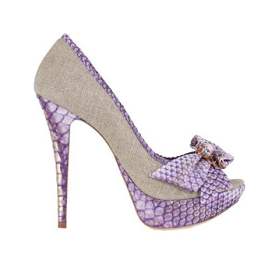 python heels, purple shoes, luxury heels, shoes with bow