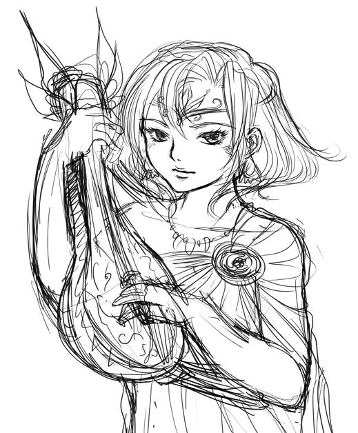 Femme barde tenant un instrument de musique