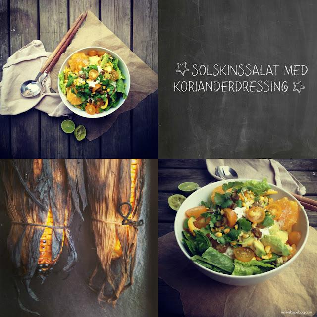Solskinssalat med grillede majs, appelsin, jalapeno, avokado, tomat og korianderdressing - Mit livs kogebog
