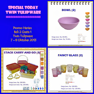 Promo Harian Tulipware Oktober 2013, Bowl, Fancy Glass, Stack Carry & Go
