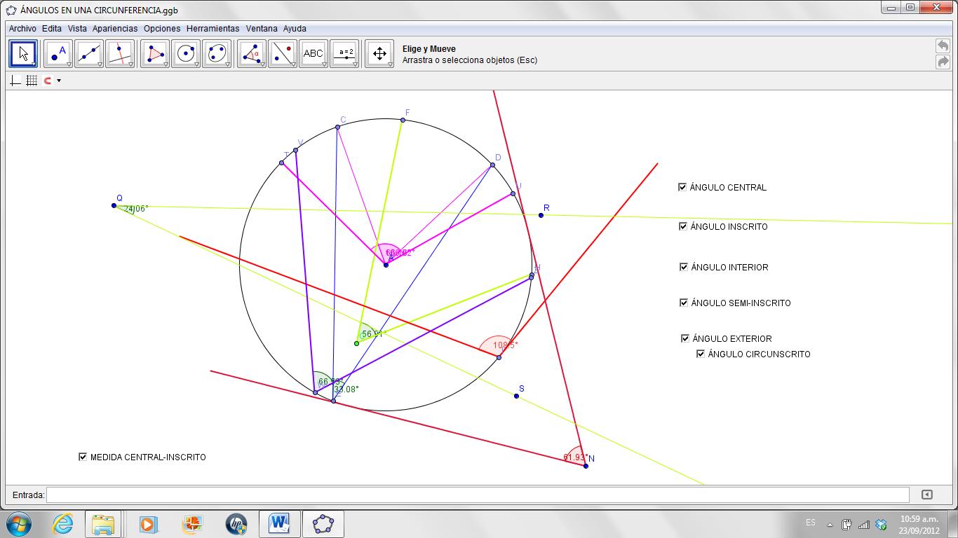 Secundaria rectas y segmentos en la circunferencia for Exterior a la circunferencia