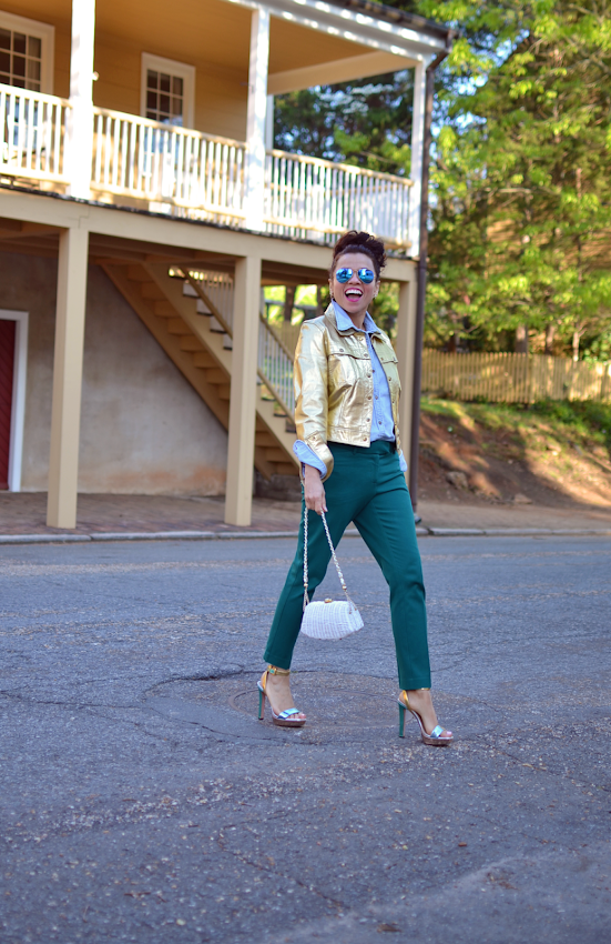 Outfit with metallic jacket