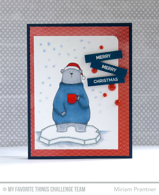 Merry Bear Card by Miriam Pranter featuring the Birdie Brown Cool Day and Hand Lettered Holiday stamp sets #mftstamps
